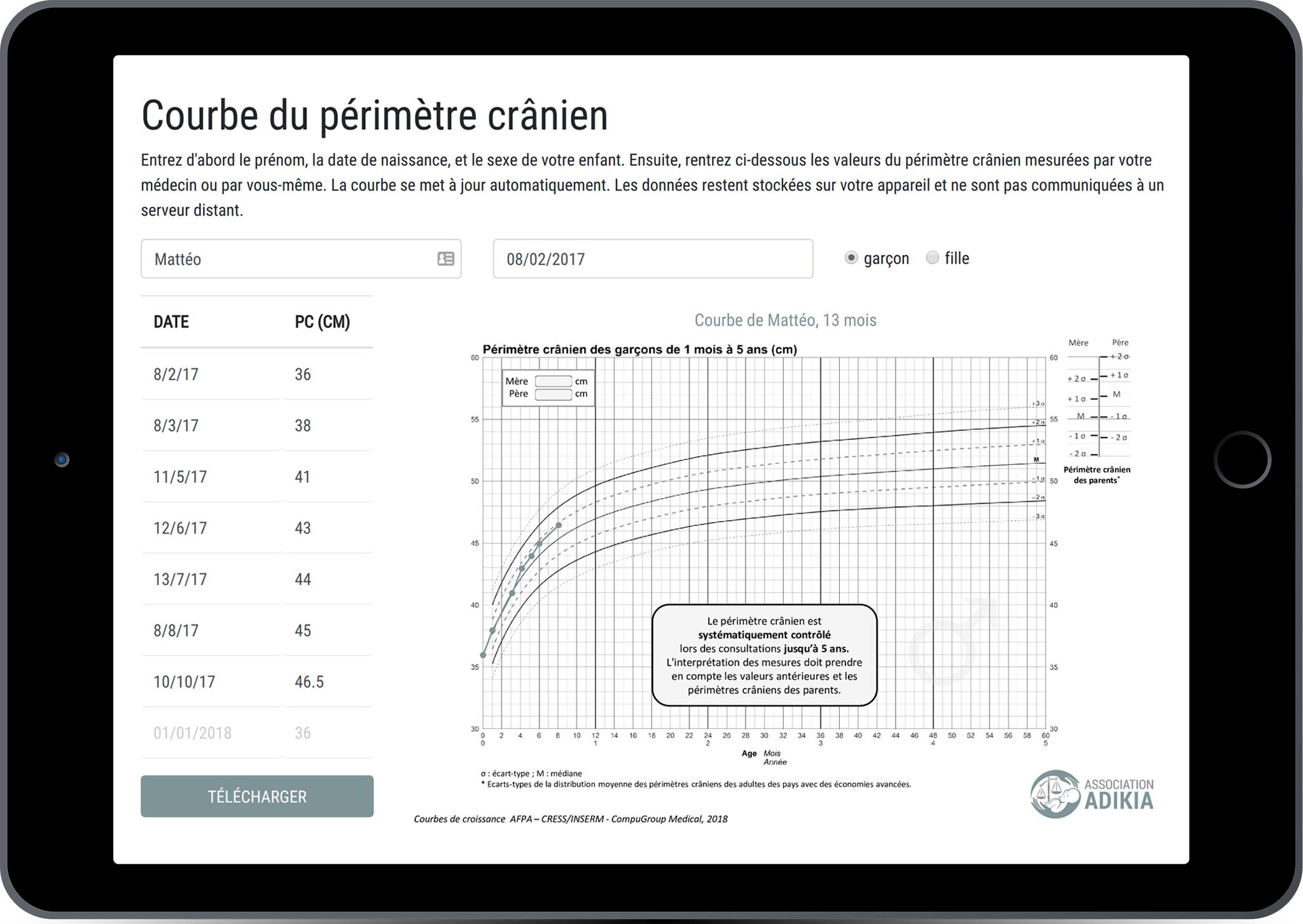 Une application interactive en cours de développement vous aide à reporter  les valeurs et à tracer la courbe du périmètre crânien   a975e2b0ea9